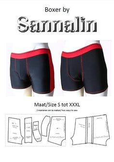 Schnittmuster / Herren Boxer / Herren Boxer by Sannalin on Etsy: Underwear Pattern, Lingerie Patterns, Sewing Lingerie, Lingerie For Men, Clothing Patterns, Men's Underwear, Sewing Men, Sewing Clothes, Diy Clothes
