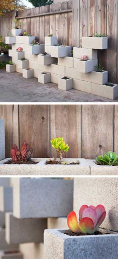 Aplicando un poco de ingenio e imaginación, podremos crearnos, tal y como vemos en estos ejemplos, unas elegantes jardineras de aspecto sobrio y contemporáneo. Una idea especialmente adecuada para jardines de exterior por su solidez y durabilidad a la intemperie. Muy ingenioso....