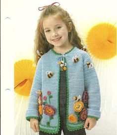 Vintage Crochet Pattern Girls Cardigan Sweater Jacket  PDF - INSTANT DOWNLOAD