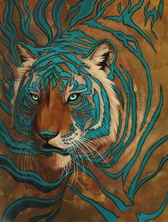 Blue wood tiger art