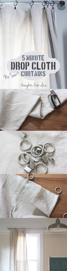 5 Minute No-Sew Drop Cloth Curtain Tutorial Easy, inexpensive idea for curtains in your apartment or rent house. Alone or over blinds, they look great. Drop Cloth Curtains, Diy Curtains, Privacy Curtains, Hanging Curtains, Drop Cloth Projects, Curtain Tutorial, Do It Yourself Inspiration, Style Inspiration, Canvas Drop Cloths