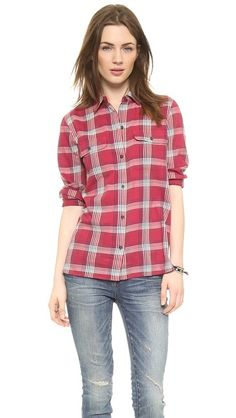 Madewell Red Plaid Ex Bf Buttondown - Warm Berry