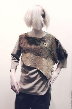 Блузки ручной работы. Ярмарка Мастеров - ручная работа. Купить Туника с декором из валяной шерсти с шёлком.. Handmade. Бежевый цвет
