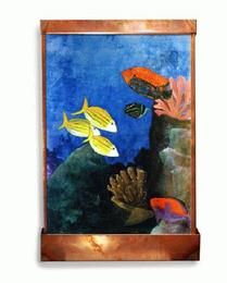 Bright and colorful indoor wall fountain with hand-painted aquarium design.  This Harvey Gallery fountain is custom made, so each one is a unique work of art. Click for sizes and pricing. Affiliate Link.