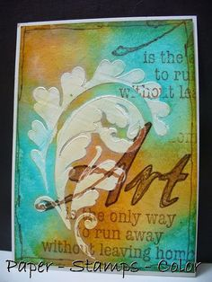 By Ellie Knol. Sponge or paint background with brown and aqua inks. On top of this, use gesso or modeling/embossing paste through a leaf stencil.
