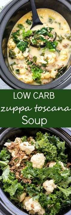 Slow Cooker Low Carb Zuppa Toscana Soup - Skip the trip to your local restaurant and make a batch of this insanely delicious copycat soup! It's healthy it's delicious and it's made low carb! Perfect for a low carb and keto-friendly lifestyle! via /galmi Zuppa Toscana Suppe, Toscana Soup, Ketogenic Recipes, Paleo Recipes, Low Carb Recipes, Ketogenic Diet, Pescatarian Recipes, Simple Recipes, Yummy Recipes
