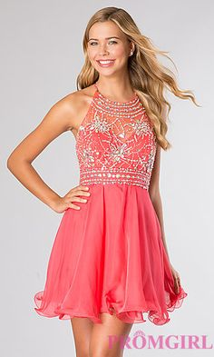 Short Halter Top Homecoming Dress at PromGirl.com