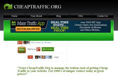 Cheap Website Traffic Starting From $1,47 for 1000 Unique Visitors. We are the nr1 Website Traffic Source : www.cheaptraffic.org