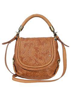 Product Name Silvio Tossi Flower Embossed Leather Shoulder Bag at Modnique.com