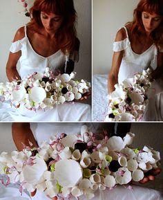 Matrimonio Green centrotavola con fiori di carta . Green Wedding paper flowers centerpiece Alessandra Fabre Repetto  Eco design Roma