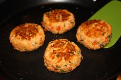 Salmon patties- can also bake at 350 for 10 minutes