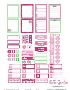 Rose Garden Planner Stickers | Free printable for horizontal planners