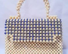 A handmade women handbag made with pearl beads, pearl clutch, a handmade pearl bag O Beads, Pearl Beads, Beaded Purses, Beaded Bags, Handbag Patterns, Art Bag, Diy Purse, How To Make Handbags, Handmade Beads