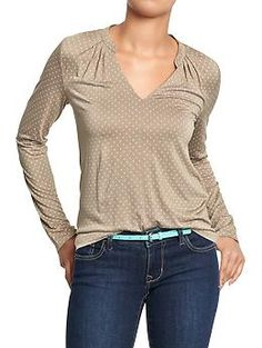 Womens Jersey Split-Neck Tops. I like the neckline. I also like the one in red too.
