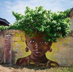 Impressive & Creative Mural Tree Hair Street Art Graffiti Ideas - Home & Garden: Inspiring Interior, Outdoor and DIY Ideas Murals Street Art, Street Art Graffiti, Mural Art, Urbane Kunst, Urban Street Art, Amazing Street Art, Arte Popular, Dope Art, Chalk Art