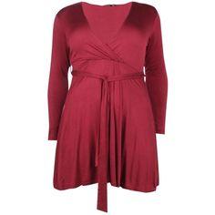 Boohoo Plus Melanie Wrap Tie Skater Dress   Boohoo ($19) ❤ liked on Polyvore featuring dresses, midi dresses, red party dresses, maxi dress, red skater dress and red midi dress