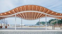 Workspace for fishery and resting place in Tsukihama, Miyatojima. Area of Building Constructed 2014 Design: Kazuyo Sejima + Ryue Nishizawa / SANAA Structure Design: SAP / Sasaki and Partners Constructor: Shelter Architecture Classique, A As Architecture, Contemporary Architecture, Architecture Magazines, Landscape Structure, Roof Structure, Shade Structure, Urban Landscape, Landscape Design