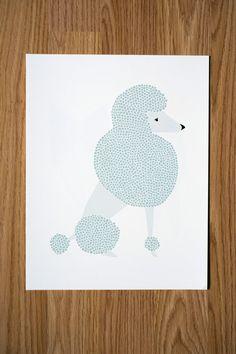 Poodle Illustration  FREE US SHIPPING by Gingiber on Etsy, $23.00