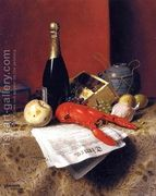 Still Life with Lobster, Fruit, Champagne and Newspaper  by William Michael Harnett