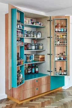 teal and plywood pantry cupboard Pantry Design, Kitchen Design, Kitchen Larder, Kitchen Cabinets, Pantry Cupboard, Victorian Terrace, Wooden Cabinets, Open Plan Kitchen, Open Shelving