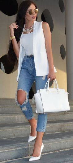 The Kript Jeans, Zara Vest, Michael Kors Bag ,Michael kors outlet,Press picture link get it immediately!not long time for cheap Mode Outfits, Stylish Outfits, Fall Outfits, Summer Outfits, Fashion Outfits, Womens Fashion, Fashion Trends, Fashion Clothes, Fashion Inspiration