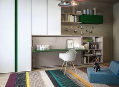 Hidden Bed behind Desk.  Expert Advice | Resource Furniture | 10 Great Ideas For Designing Kids Rooms