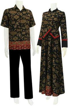 Gambar Baju Couple Muslim Batik Keluarga Terbaru Desain
