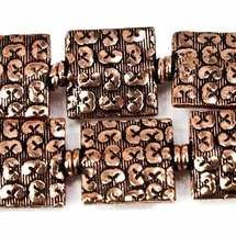 12mm Antiqued Copper 3 Health, Wealth, Happiness Embossed Square Beads, 8 inch, 15 beads
