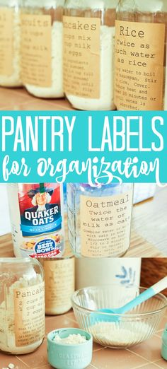 These free printable pantry organization labels are perfect for your kitchen! Pantry organization has never been easier or cuter than adding these labels to mason jars! Pantry Organization Labels, Pantry Labels, Jar Labels, Organization Hacks, Organized Pantry, Spice Labels, Pantry Ideas, Pantry Storage, Organizing Tips