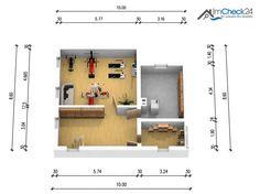 Dank geeigneter Dachhöhe, sind die Schrägen im Schlafzimmer minimal.