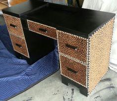 Black and leopard vanity