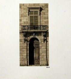 New York City Townhouse / Michael Hampton / watercolor on paper / Art Size: 11.5 x 16; Frame Size: 15 x 18