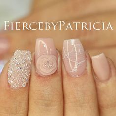 Instagram media fiercebypatricia - Gorgeous nude set We added white lace & a dazzling swarovski pixie design A 3d flower to give the set the finishing touch #FiercebyPatricia #FierceNailLounge  Quality over Quantity! Always the best for my clients!