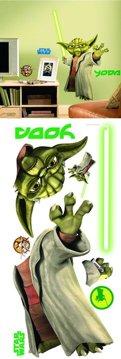 Star Wars Yoda Peel and Stick Giant Wall Sticker - Wall Sticker Outlet