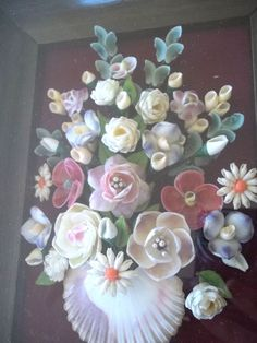 Beautiful Vintage Sea Shell Picture basket of Flowers Sailor Art? Glass Frame