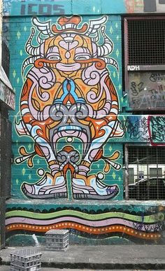 Phibs' sneaker man. On wall of carpark is a side alley off Hosier Lane, Melbourne (@omowizard)