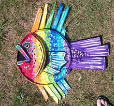 RAINBOW FISH made entirely from Bushel Crab Baskets from the Eastern Shore bright and glittery taking orders by Dawn Tarr DAWN TARR ART