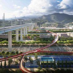 Il parco del Polcevera e il Cerchio Rosso di Stefano Boeri, sotto il ponte di Renzo Piano a Genova | Social Design Magazine