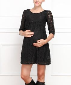 Loving this Black Lace Maternity Scoop Neck Dress on #zulily! #zulilyfinds