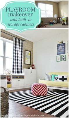 DIY playroom makeover with built-in storage cabinets and a plank wall -- how to build your own built-ins using kitchen cabinets