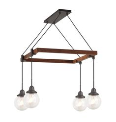 Rose City 4-Light Chandelier Wood Square A0831