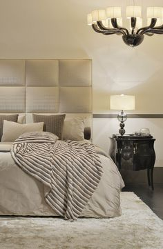 Fendi Casa Diamante King bed with Canova bedside table smooth combination of dark and light tones. Luxury Living Group