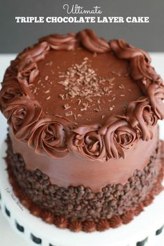 The best triple chocolate layer cake with the easiest milk chocolate frosting covered with mini chocolate chips. Makes the ultimate fudgy birthday dessert.