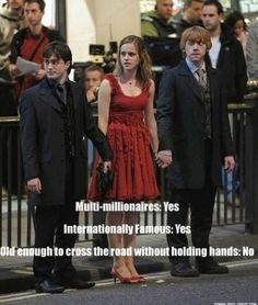 """Hermione is probably acting like the mom like, """"Give me your hands"""" """"After this car we'll cross"""" """"Look Both Ways!!"""""""