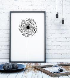 Dandelion art, dandelion wall art, dandelion print, Black and white art, black and white art print, black and white wall art, monochrome wall art, monochrome art print, minimalist art print, minimalist wall art