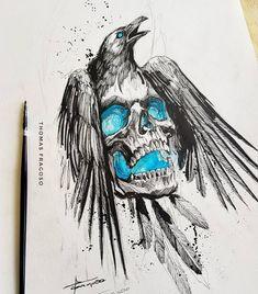 Skull Tattoos, Body Art Tattoos, Corvo Tattoo, Tattoo Drawings, Art Drawings, Tattoo Posters, Nature Tattoo Sleeve, Valkyrie Tattoo, Nordic Tattoo