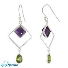 Sterling Silver Amethyst & Peridot Earring SDER2133 | Sky Divine Jewellery, $44.30