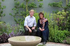 Jekka McVicar and Heinrich Braun in the beautiful Sct. John's Hospice garden at RHS Chelsea Flower Show 2016. Baugaarden Living Art supplied 3 willow  trees for the show garden.