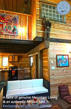 Our cabins are designed differently inside & out. Our Cottonwood cabin features authentic African arts from our travels. Rustic Walls, Us Travel, Cabins, African, Home, Design, Ad Home, Homes