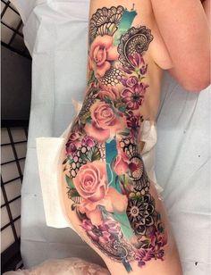 Pretty Floral Side Tattoo